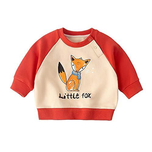Unisex Camisetas de bebé de manga larga para niños con estampado de jersey de algodón blusa naranja zorro 3-6 meses/66