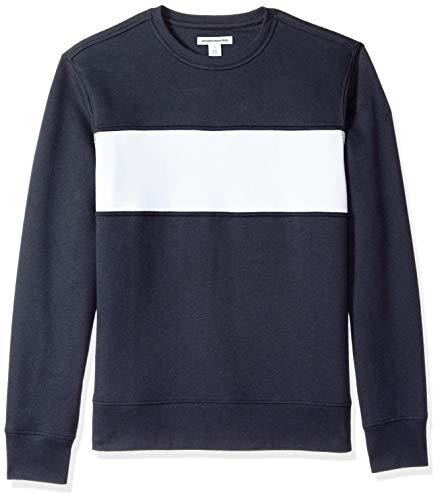 Amazon Essentials – Suéter de forro polar con cuello redondo para hombre, Azul (Navy/White), US XS (EU XS)