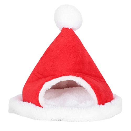 GangZhENgSd Lindo aislamiento de franela de Navidad con diseño de conejillo de indias y sombrero de Navidad para cama - Lindo cama para mascotas - Adecuado para mascotas pequeñas