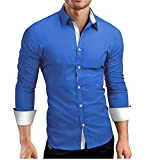 Luckycat Hombre Camisa Manga Larga Slim Fit Camisa Hombre Manga Larga Camisas Formales Negocios...