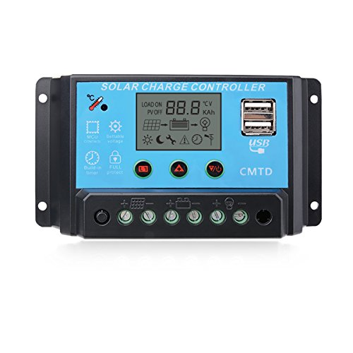 Sunix 10A 12V / 24V Solarladeregler, intelligenter Solarladeregler, USB-Anschlussanzeige, Überlastungsschutz Temperaturkompensation