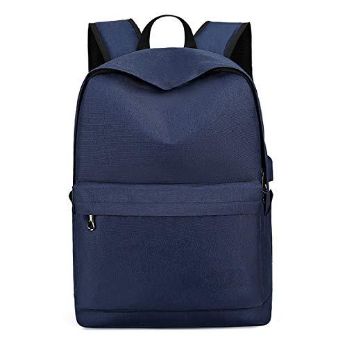 Mochila para Portátil Mochilas Escolares Juveniles Hombre Mujer con Puerto de Carga USB, Daypacks Impermeable para Casual Senderismo Viaje Daypack,Azul