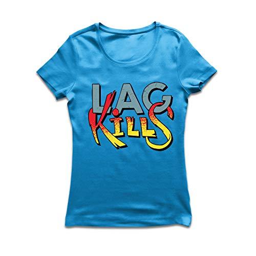 lepni.me Frauen T-Shirt Lag Kills - Für Videospiel-Spieler, Spieler-Humor (X-Large Blau Mehrfarben)
