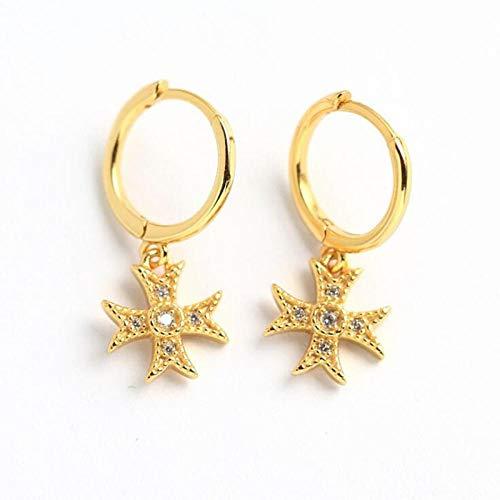Pendientes Mujer Pendientes De Aro con Cruz De Plata 925 Pendientes De Aro con Cruz Colgante Oro Pendientes Delicados-Oro