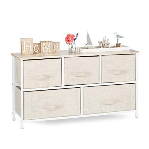 Relaxdays Regalsystem, 5 Stoff-Schubladen, universale Schubladenbox, Metall und Holz, HxBxT: 54,5 x 100 x 30 cm, beige