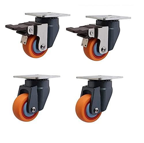HJHQQ-CZYHG Set von 4 Möbel-Swivel-Rollen, 2 Zoll (50 mm) 360 ?? ° Radrollenrad, 400kg Geräuschlose PU-Hochleistungsrollen für Trolleys Tische-Gold    4 Universal - M8