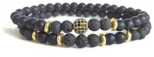 artizan Pulsera de Piedra para Mujeres, Roca volcánica Natural Beads Pulsera Elástica Golden Ball Bangle Chakra Joyería Boho Yoga Regalo para Novia Mamá