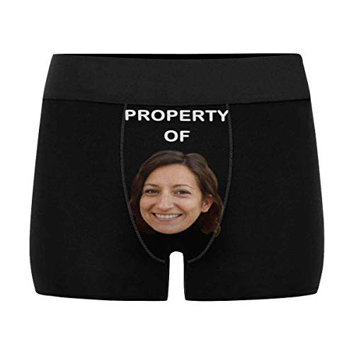 Custom Faces Print Boxer Briefs for Men Property of Me Photo Underwear Gifts