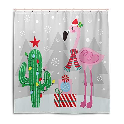ALARGE Weihnachts-Duschvorhang mit niedlichem Flamingo-Kaktus, wasserdicht, Schimmeleffekt, Polyesterstoff mit Haken, 12 Löcher, 167,6 x 182,9 cm