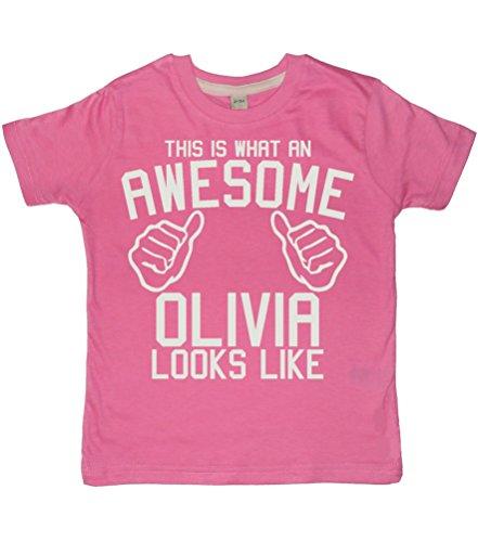 Edward Sinclair This is What an Awesome Name Looks Like – Camiseta para niña personalizada con tu nombre! – Bubblegum rosa para niña con una impresión de purpurina blanca Rosa Rosa Chicle Talla única
