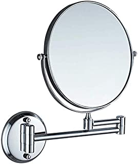 Makeup Vanity Mirror, 3X Magnification Beauty Mirror Two-Sided Wall Mounted Bathroom Mirror 360° Swivel Extendable,Silver_6inch,Bathroom
