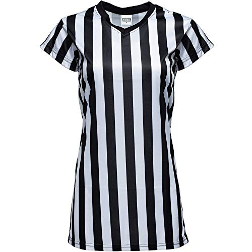 Murray Sporting Goods Women's V-Neck Black and White Stripe Referee Shirt, Official Jersey for Refs, Referee Costume, Waitresses and More (X-Small)
