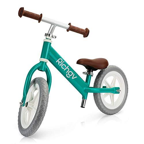 Richgv Bicicleta para niños sin Pedales Bicicleta de Equilibrio Ultraligera Equilibrio de Ejercicio para bebés pequeños con Manillar y sillín Ajustables para niños de 2 a 5 años Regalo