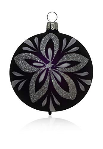 Boules Violet mat avec décor floral Lot de 4 D 7 cm Décoration de Noël Arbre de Noël Bijoux soufflé, handdekoriert Lauschaer Verre l'original