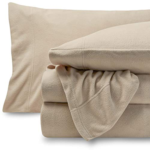 Bare Home Super Soft Fleece Sheet Set - Full Size - Extra Plush Polar Fleece, Pill-Resistant Bed Sheets - All Season Cozy Warmth, Breathable & Hypoallergenic (Full, Sand)