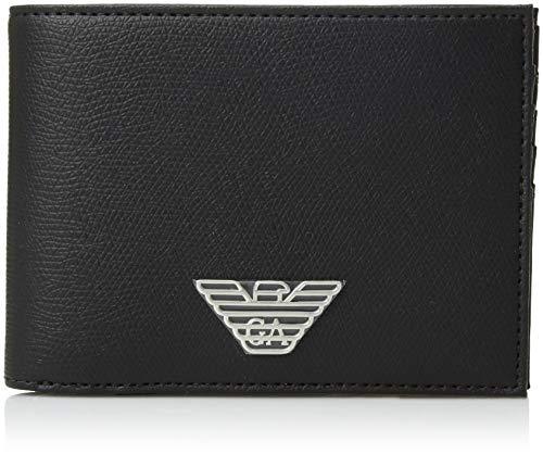 Emporio Armani cartera billetera bifold de hombre en piel nuevo negro