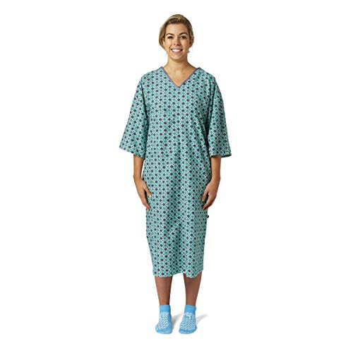 Nobles Health Care Diamond Green and Blue Print IV Angle Back Hospital Gown- Pack of 4
