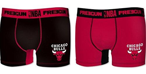 2x Boxer Chicago Bulls–Collezione ufficiale NBA–Taglia Bambino, Ragazzo, nero, 6/8 anni