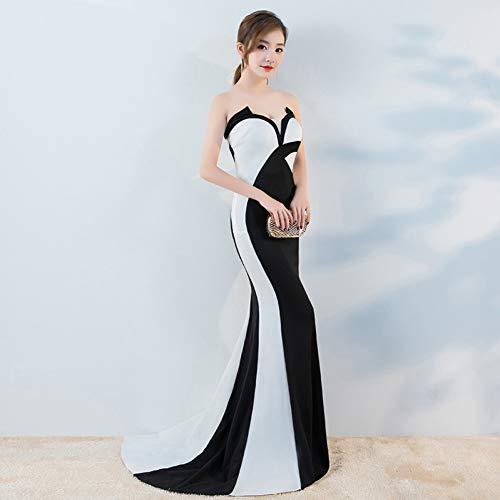 BINGQZ Jurk/Cocktail Jurken/Casual Avondjurk vrouwelijk banket buis top een schouder fishtail jurk lange nacht show kostuum zwart en wit