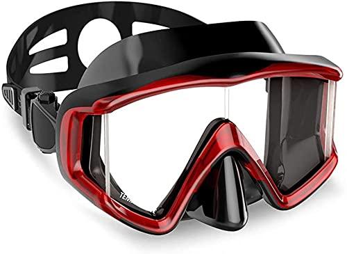 Mascara Buceo Mascarilla de Buceo Snorkel en seco Completo Anti-Niebla con máscara de Lente Templado Espejo de Tres Lados (Color : Black Red)