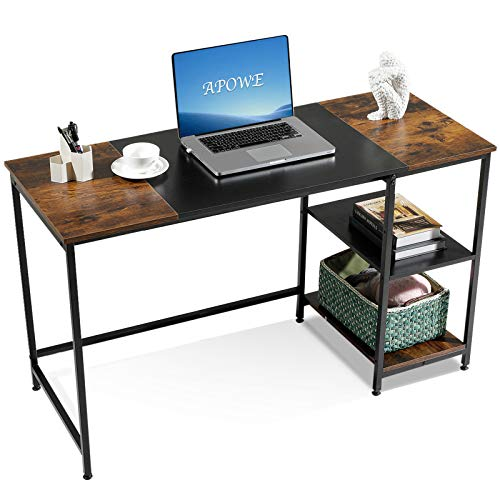 Computer Desk Home Office Desk with Storage Shelves Modern Simple PC Desk with Splice Board for Home Office Rustic Brown  Black  Rustic Brown 47