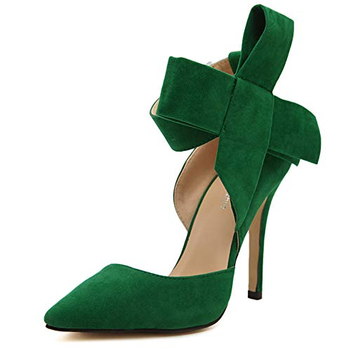 fereshte Women's D'Orsay Pointy Toe Stiletto High Heel Dress Pumps with Bowknot Green 9 M US = CN41