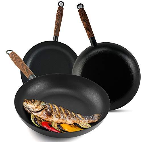 GreaTool Poêle avec manche en bois, poêle à induction, fer fondu, antiadhésif pour tout type de cuisinières (28 cm, individuel)
