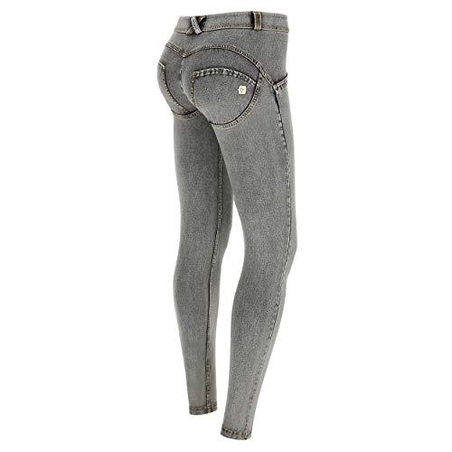 FREDDY Pantalone WR.UP® Superskinny Vita e Lunghezza Regular in Jersey Denim Chiaro - Jeans Grigio-Cuciture Gialle - Small