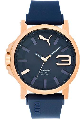 Puma Ultrasize 50 Bold - Reloj análogico de cuarzo con correa de silicona para hombre, color azul/oro
