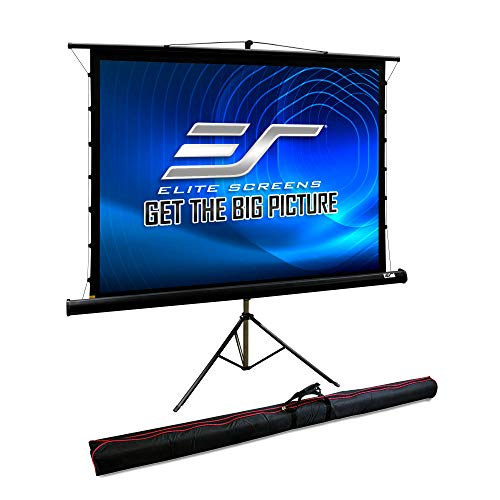 Elite Screens 85-inch Tab Tension Tripod Projector Screen, Portable Business Presentation, Carrying Bag & Drape Kit, 4:3 4K Ultra HD 3D Pull Up Front Projection Theater Movie Video Games TT85UWV-PRO