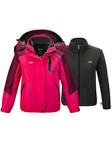 Wantdo Girl's Winter 3 in 1 Snowboarding Warm Hooded Jacket Rose Red 6/7