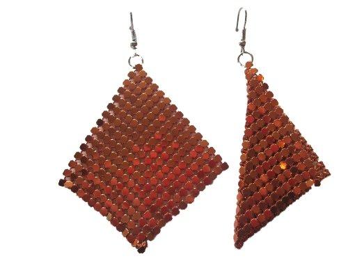 1 Paar Ohrringe Hänger Metallplättchen Ketten Gitter Gewebe Metallic orange *67*