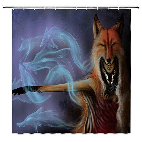 EdCott Fox Duschvorhang Frau Fox Monster Nettes Tier Thema Badezimmer Duschvorhang Vorhang Kreative Individuellkeit Fox Rauch Duschvorhang Dekoration Grauer Hintergr& Duschvorhang Dekoration