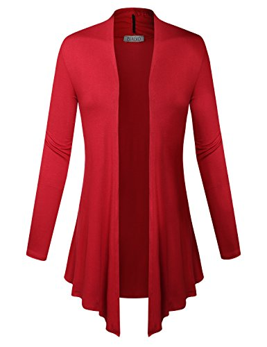 BIADANI Women Open Front Lightweight Cardigan Red Large