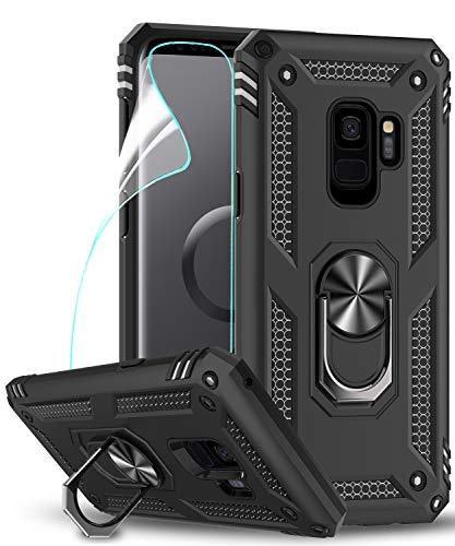 LeYi Funda Samsung Galaxy S9 Armor Carcasa con 360 Anillo iman Soporte Hard PC y Silicona TPU Bumper antigolpes Fundas Carcasas Case para movil Samsung S9 con HD Protector de Pantalla,Negro