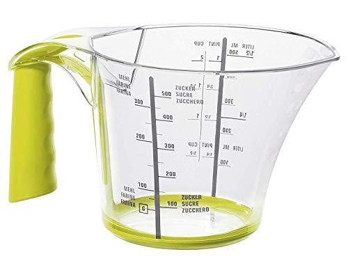 Rotho Loft Messbecher 0.6l mit Softgriff, Antirutschring und Skala, Kunststoff (SAN) BPA-frei, transparent/grün, 0,6l (17,6 x 11,9 x 9,7 cm)