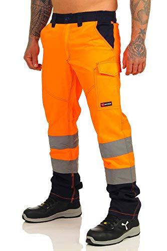 Mivaro Warnschutzhose, Lange Warnschutz Arbeitshose, EN ISO 20471 Klasse 2, Farbe:Orange/Dunkelblau, Größe Hosen:M (48-50)