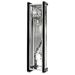 Howard Miller Janowicz Floor Clock 547-067 – Highly Polished Gloss Black, Chrome Grandfather Decor, Cable-Driven, Triple-Melody, Nine-Tubular Chime Movement