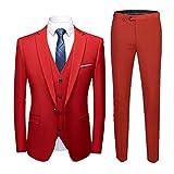 Herren Anzug Slim Fit 3 Teilig mit Weste Sakko Anzughose Business Hochzeit Party Smoking Rot L