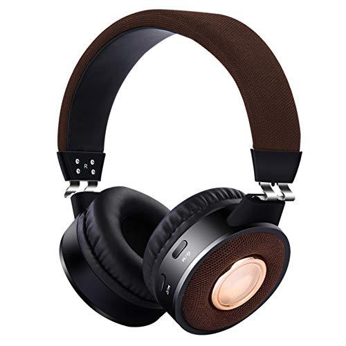 HXCH Auriculares Bluetooth sobre la oreja, plegables inalámbricos y con cable, estéreo, reducción de ruido, microSD y Tf, auriculares plegables con almohadillas de espuma viscoelástica suave, café