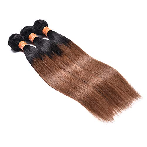 1B/30 Ombre Brazilian Hair Straight 3 Bundles Deals Color Black to Dark Brown 8A Remy Silky Straight Virgin Human Hair Sew in Weave (10'12'14')