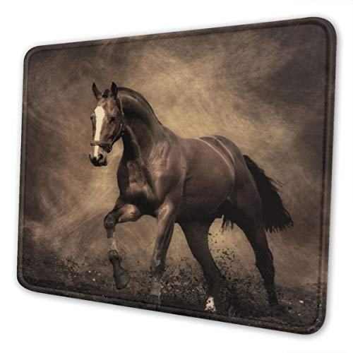 Running Horse Mouse Pad with Stitched Edge, Non-Slip Rubber Base Gaming Mousepad, Premium-Textured Customized Mouse Mat for Office Home PC Laptops