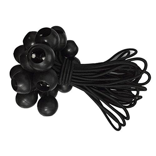 VORCOOL Cuerdas para Sujetar Lona Cuerdas para Tiendas Pabellones Cordones con Bola Élastico 12 Piezas 15cm (Negro)