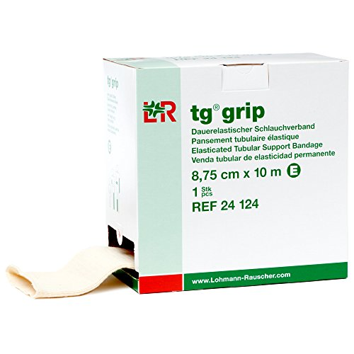 Lohmann & Rauscher Tg Grip, tamaño E, 3.4in x 32.8ft, vendaje de compresión tubular elástico para apoyo ligero y cómodo, manga para esguinces, tensiones, lesiones de tejido suave, calcetín respetuoso con la piel