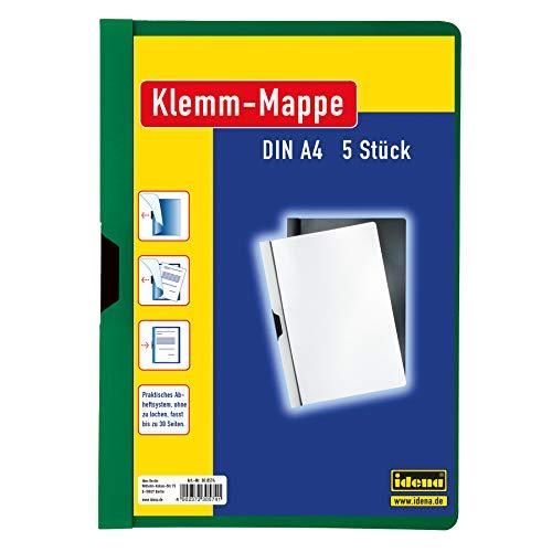 Idena 300574 - Klemmmappe für DIN A4, grün, 5 Stück