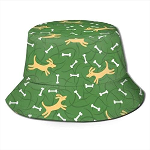 Lawenp Beagle Perro Divertido Lindo Verde Unisex impresión Sombrero de Cubo patrón Sombreros de Pescador Verano Reversible Tapa Plegable Mujeres Hombres niña niño