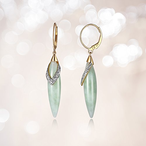 18k Yellow Gold Plated Sterling Silver Genuine Green Jade and Diamond Accent Leverback Dangle Earrings