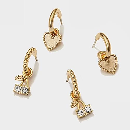 CXWK 4 unids/Set Amor corazón Oro Pendientes de aro pequeños Pendientes de Diamantes de imitación de Cereza para Mujer Bonitos Pendientes románticos de Moda