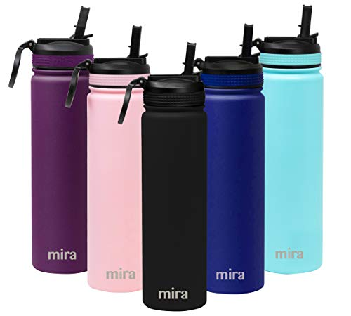 MIRA 24 oz Stainless Steel Water Bottle - Vacuum Insulated Metal Thermos Flask Keeps Cold for 24 Hours, Hot for 12 Hours - BPA-Free Straw Lid Cap - Black