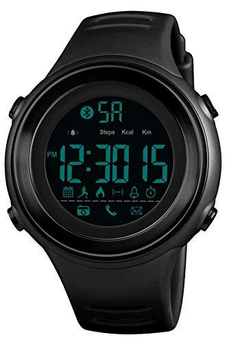 Smartwatch Herren Sportuhr Fitness Armband Blutooth Schrittzähler Kalorienzähler Digital Smart Watch SMS Wecker LED Stoppuhr Armbanduhr 5 ATM Wasserdicht